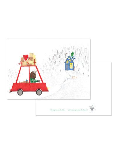 Wenskaart Driving home for Christmas