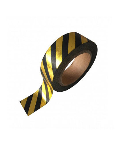 Washi tape Black Gold Stripe