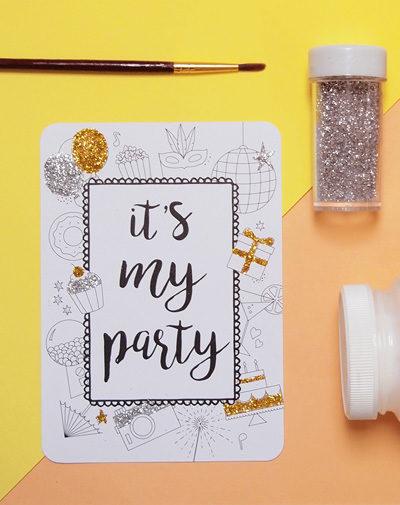 Colour Your Invite – My Party (set van 8)