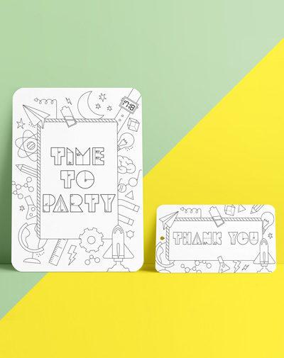 Colour Your Invite – Science (set van 8)