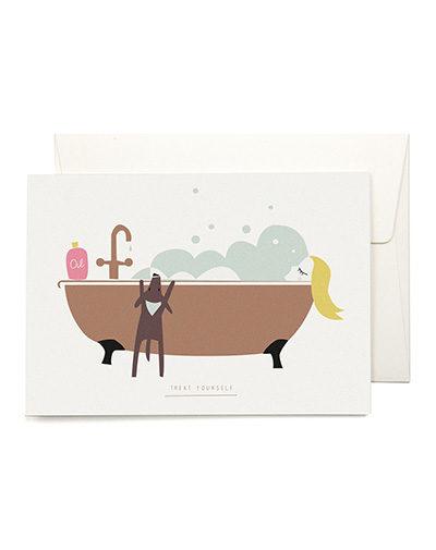 Wenskaart Bubble Bath