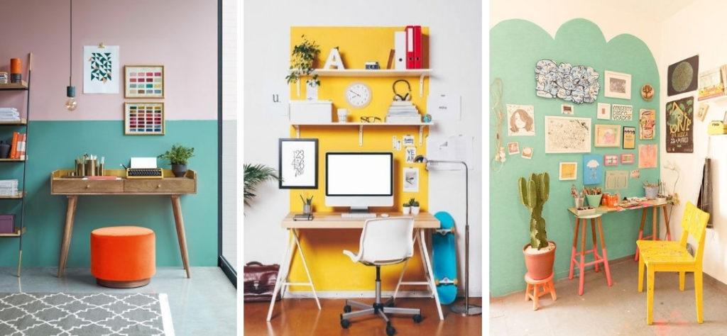 inspirerende thuiswerkplek met kleur